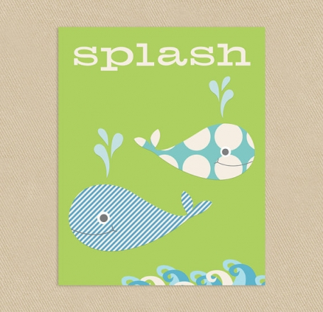 Splash Whale Wall Art Green