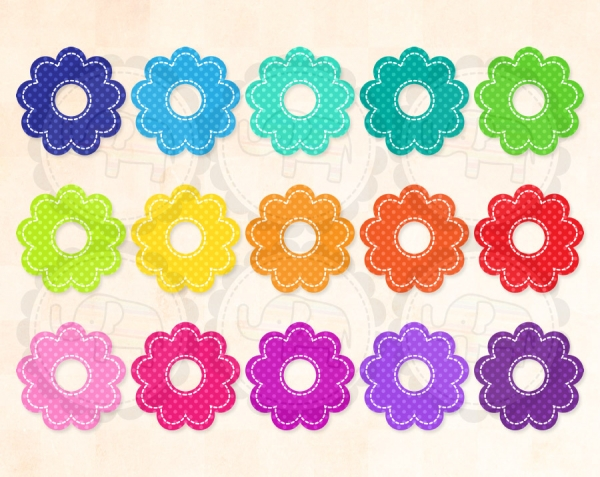Stitched Polka Dot Flower - Graphics / Clip Art