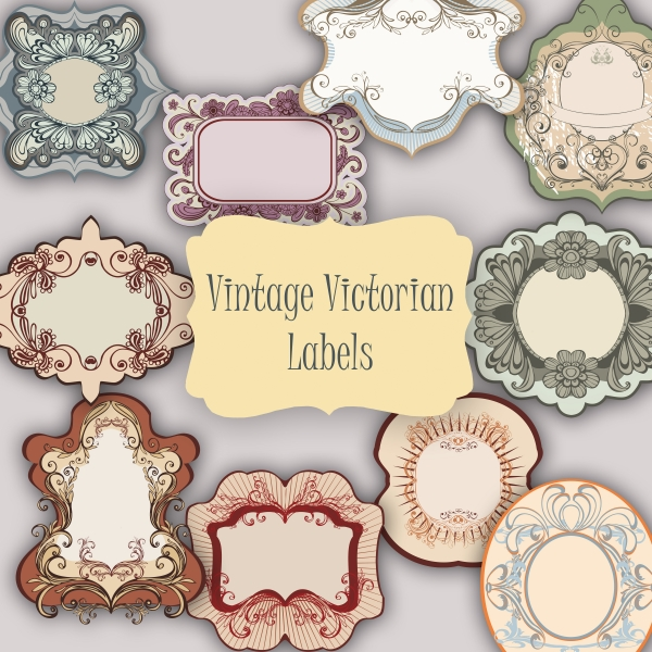 10 vintage victorian tags and labels png   clip