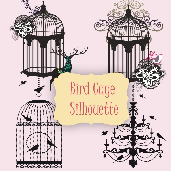 4 PNG Bird Cage Silhouettes - Graphics / Clip Art | Luvly