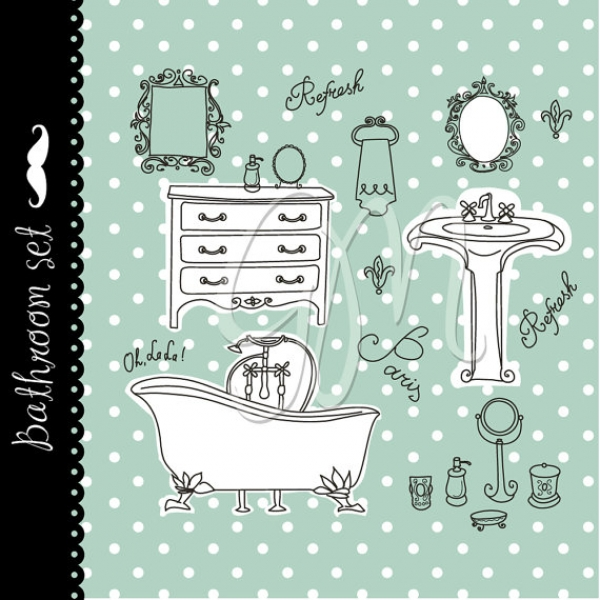 Download Vintage Bathroom U0026 Spa Clip Art