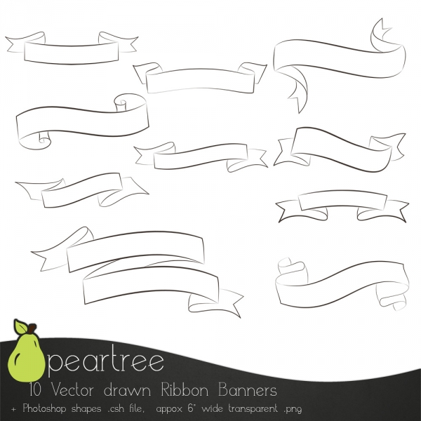 Set Of 10 Calligraphy Ribbon Banners Graphics Clip Art