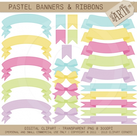 Ribbons Flags Pastel