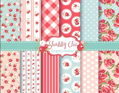 Pink Roses Shabby Chic Patterns III