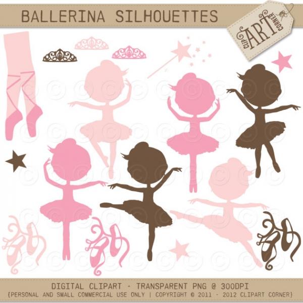 silhouettes little ballerina   clip art