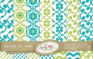 Turquoise and Green Digital Papers