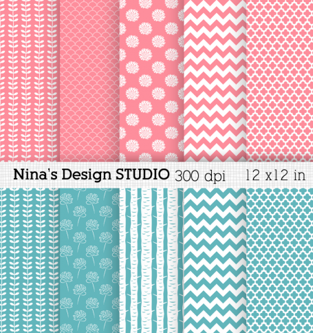 Pink and Blue Digital Papers