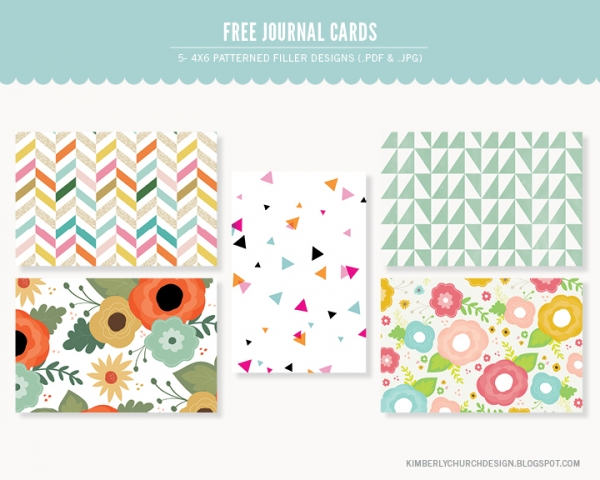 patterned 4x6 journal cards   printables