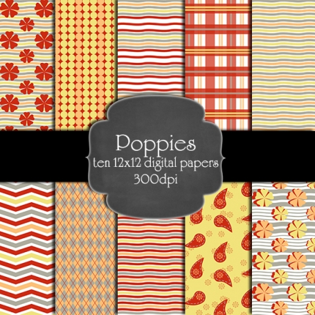 Poppies Digital Paper Pack