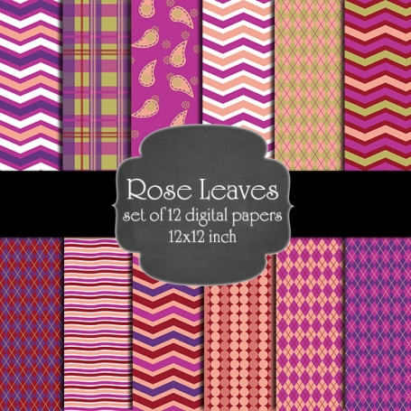 Rose Leaves Digital Paper Pack