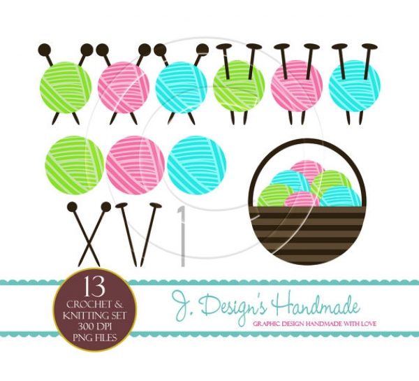 Knitting Crocheting Clipart : Crochet and knitting commercial use clipart graphics