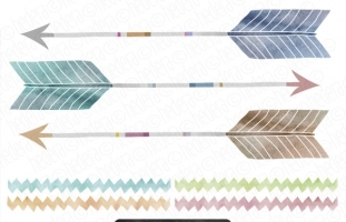 3 Hand Painted Watercolor Arrows
