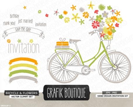 Cute printable bridal shower invitations 100 original luvly bright bicycle flower basket filmwisefo Choice Image