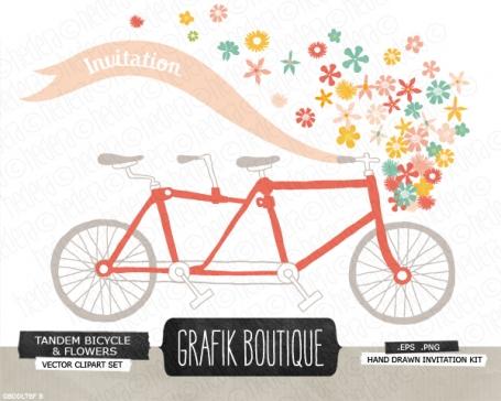 Cute printable bridal shower invitations 100 original luvly bright tandem bicycle flower filmwisefo