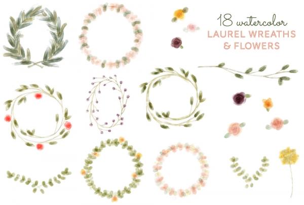 18 Laurel Wreath & Flower Clip Art - Graphics / Clip Art | Luvly