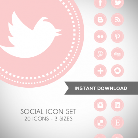 Soft Pink Social Media Icons