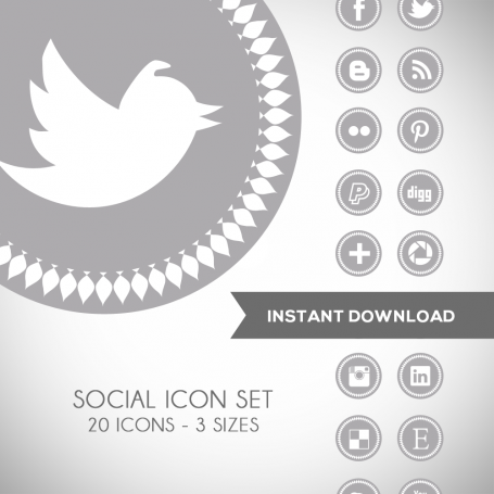 Spike Grey Social Media Icons