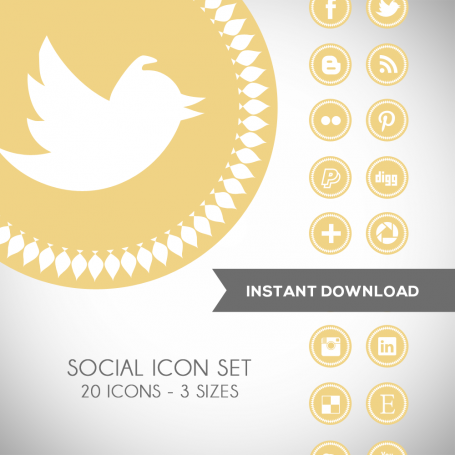Spike Yellow Social Media Icons