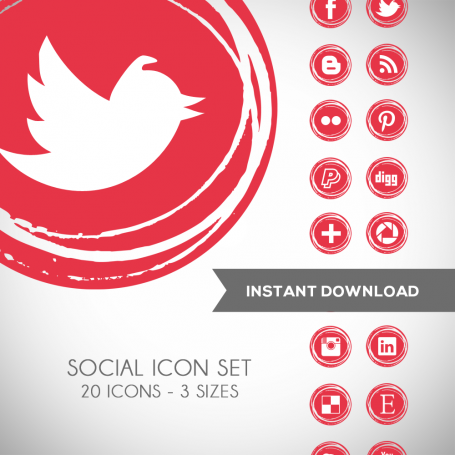 Poppy Red Social Media Icons