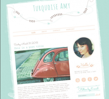 Turquoise Amy Blogger Template