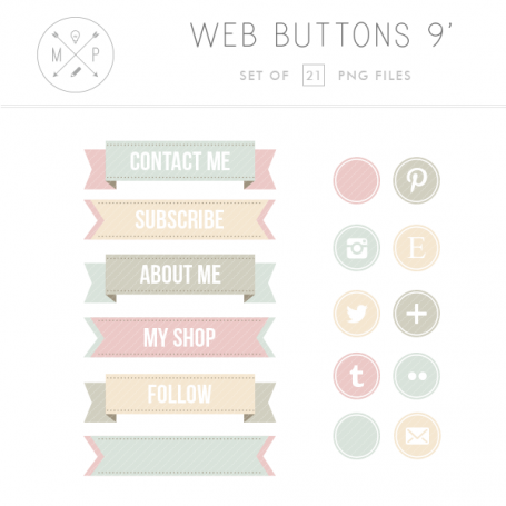 Vintage Ribbon Blog Buttons