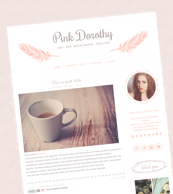 Pink Dorothy Cute and Chic Blogger Template - Web / Blogger ...