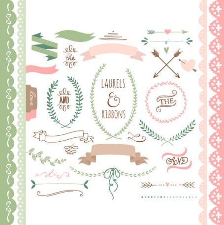 Laurels & Ribbons Clip Art