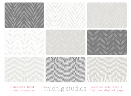 9 Neutral Chevron Web Tiles
