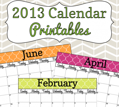 2013 Calendar Printable - Colorful