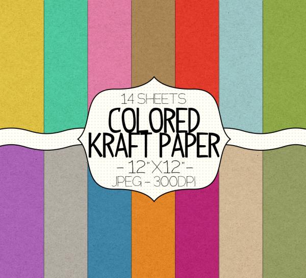 Colored Kraft Paper Texture Digital Paper Pack Graphics
