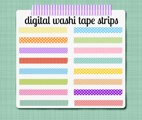 Washi Tape Strips - Digital Clip