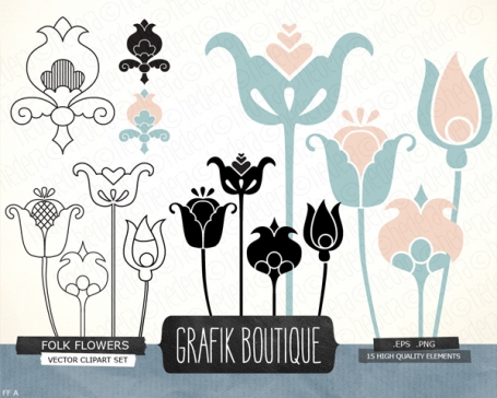 Folk flowers digital vector clip