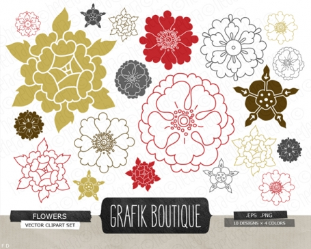 Flowers vector clip art, flower,