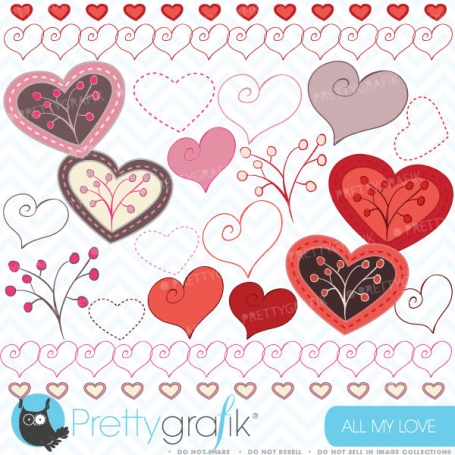 Hearts digital Clipart for