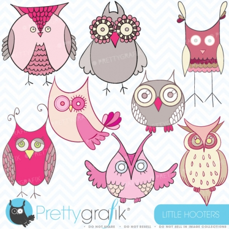 Pink owl clipart commercial use,
