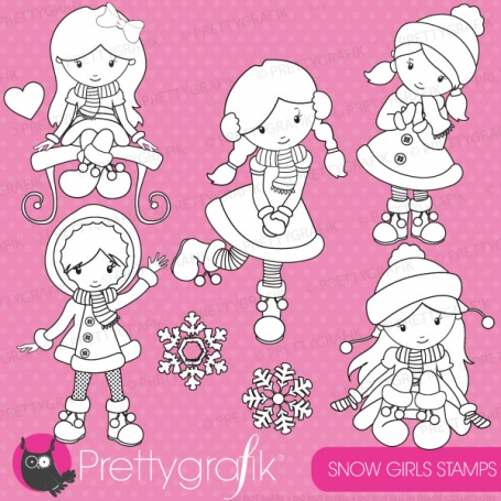 Winter girls stamp commercial use,