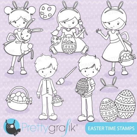 Easter kids digital stamp