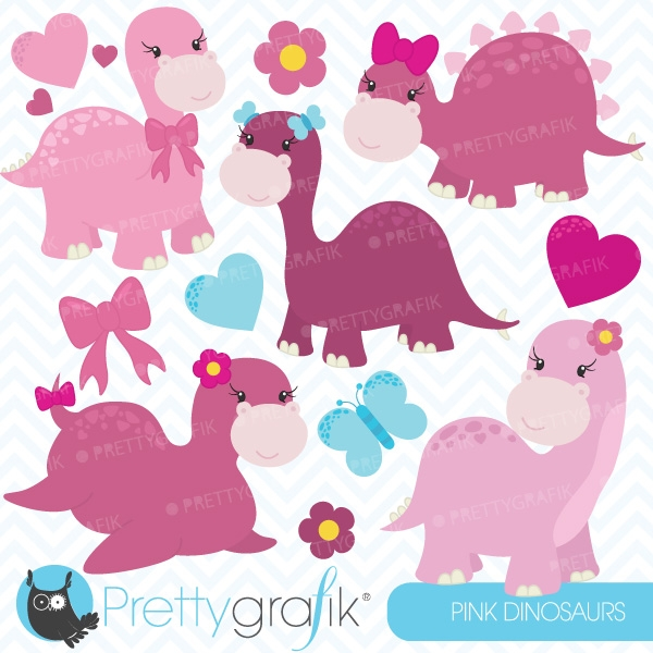 Pink Dinosaurs Clipart Commercial Use Vector Graphics