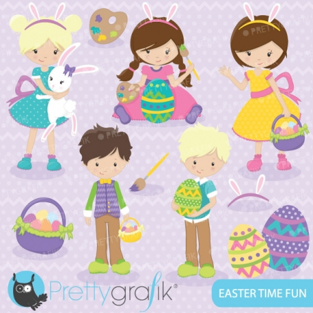 easter kids clipart  (commercial