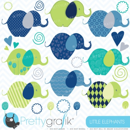 Elephants clipart (commercial use,