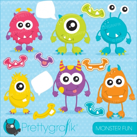 monster fun clipart (commercial