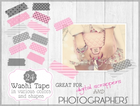 24 Digital Adhesive Washi Tape