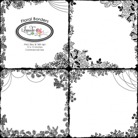 Vintage Floral Borders Digital