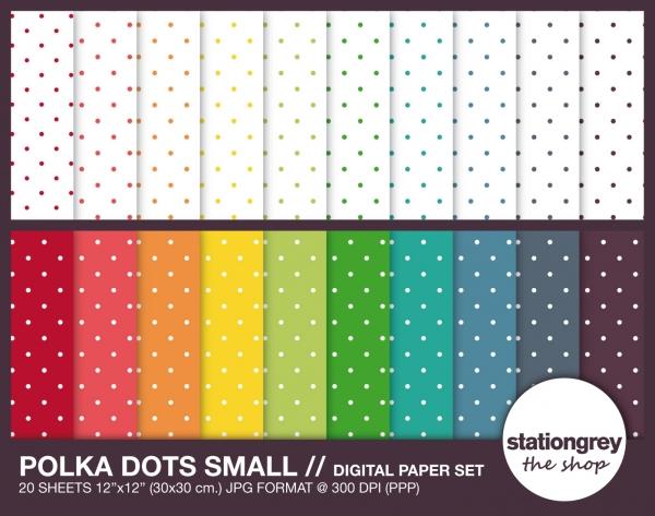 polka dots small      digital paper set      20 sheets