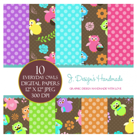Everyday Owls Digital Paper Pack