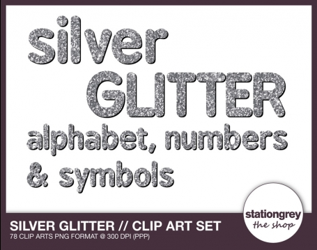 Silver glitter - Alphabet, numbers