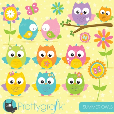 Summer Owls Girls Clipart