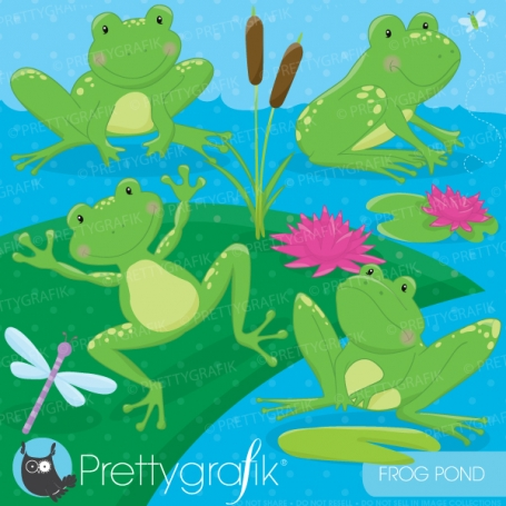 Frog pond clipart commercial use,