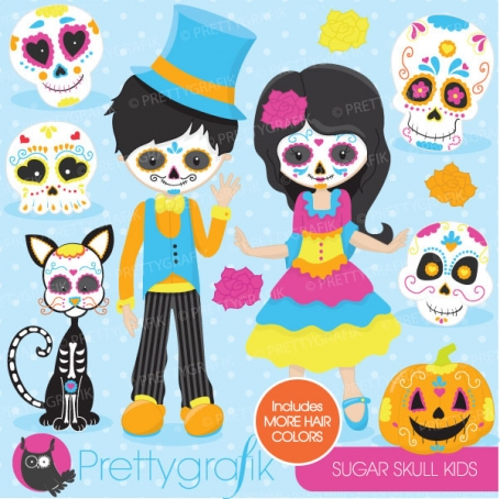 Sugar skull kids clipart
