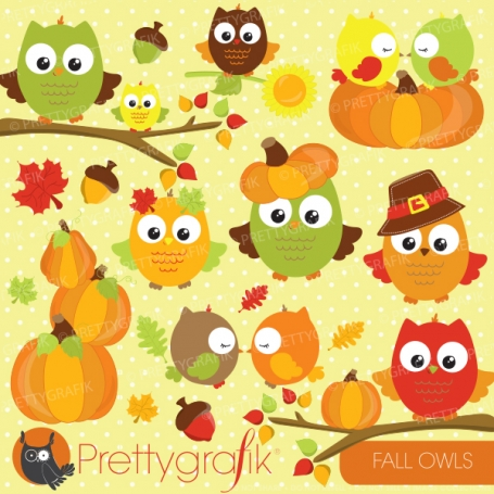 Fall owls clipart - CL693